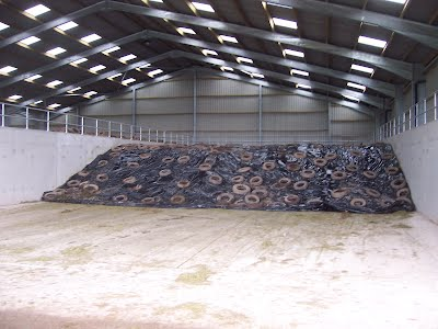 Roofed silage clamp